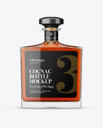 Square Clear Glass Bottle With Cognac Mockup