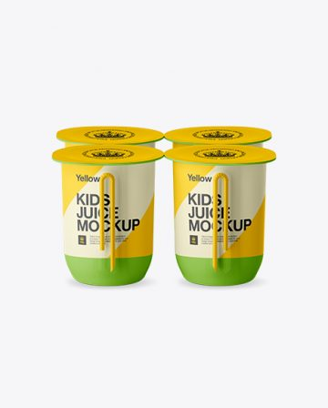 Matte Plastic 4 Pack Juice Cup Mockup - Side View (High-Angle)