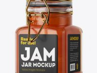 100ml Glass Apricot Jam Jar w/ Clamp Lid Mockup - Halfside View