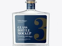 Square Clear Glass Bottle With Vodka Mockup