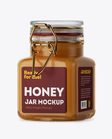100ml Glass Raw Honey Jar w/ Clamp Lid Mockup - Halfside View