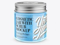 Cosmetic Jar with Scrub Mockup - Halfside View