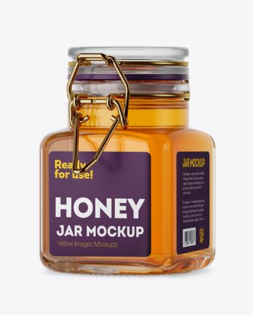 100ml Glass Pure Honey Jar w/ Clamp Lid Mockup - Halfside View