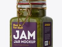 100ml Glass Kiwi Jam Jar w/ Clamp Lid Mockup - Halfside View