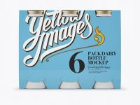 6 Pack Matte Dairy Bottle Mockup - Front View