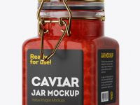 100ml Glass Red Caviar Jar w/ Clamp Lid Mockup - Halfside View