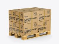 Wooden Pallet With 8 Cardboard Boxes Mockup - Halfside View