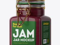 100ml Glass Cranberry Jam Jar w/ Clamp Lid Mockup - Halfside View