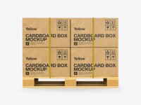 Wooden Pallet With 8 Cardboard Boxes Mockup - Side View