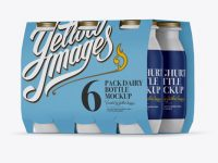6 Pack Glossy Dairy Bottle Mockup - Halfside View