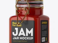 100ml Glass Red Jam Jar w/ Clamp Lid Mockup - Halfside View