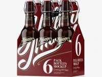 White Paper 6 Pack Amber Bottle Carrier Mockup - Halfside View