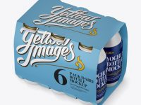 6 Pack Glossy Dairy Bottle Mockup - Halfside View (High Angle)