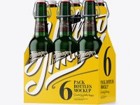 White Paper 6 Pack Green Bottle Carrier Mockup - Halfside View