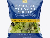 Clear Plastic Bag With Salad Mockup