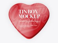 Heart Shape Glossy Tin Box Mockup  - Top View