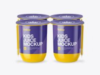 Glossy Plastic 4 Pack Juice Cup Mockup - Front View (High-Angle)