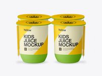 Matte Plastic 4 Pack Juice Cup Mockup - Front View (High-Angle)