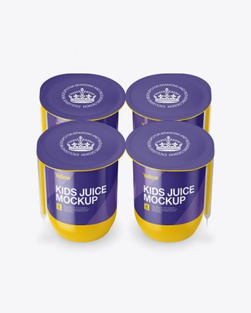 Glossy Plastic 4 Pack Juice Cup Mockup - Front View (High-Angle Shot)