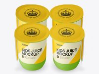 Matte Plastic 4 Pack Juice Cup Mockup - Front View (High-Angle Shot)