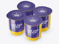 Glossy Plastic 4 Pack Juice Cup Mockup - Halfside View (High-Angle Shot)