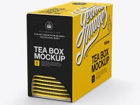 Tea Box W/ Sachets Mockup - Halfside View