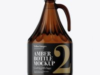 3L Amber Glass Bottle With Handle Mockup