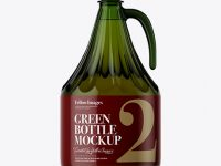 3L Green Glass Bottle With Handle Mockup