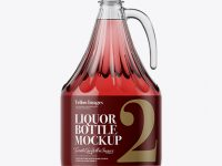 3L Clear Glass Pink Liquor Bottle With Handle Mockup