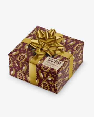 Glossy Gift Box with Metallic Bow Mockup