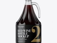 3L Clear Glass Red Wine Bottle With Handle Mockup