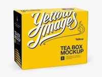 Tea Box with Sachets Mockup - Half Side View