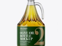 3L Clear Glass Olive Oil Bottle With Handle Mockup