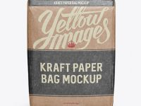 Kraft Paper Bag Mockup - Front View (High-Angle Shot)