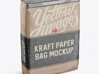 Glossy Kraft Paper Bag Mockup - Halfside View (High-Angle Shot)