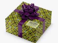 Matte Gift Box with Glossy Bow Mockup