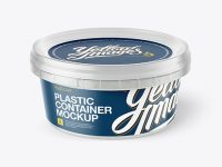 Plastic Container With Sauce Mockup - Half Side View (High Angle)