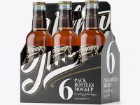 White Paper 6 Pack Clear Bottle Carrier Mockup - Halfside View