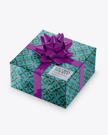 Matte Metallic Gift Box with Glossy Bow Mockup