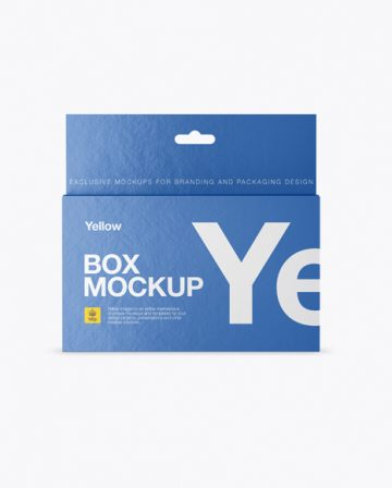 Textured Paper Box with Hang Tab Mockup - Front View