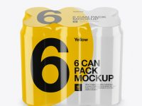 Pack with 6 Alminium Cans Mockup - High-Angle Shot