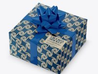 Textured Paper Gift Box with Glossy Bow Mockup