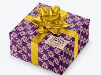 Textured Paper Gift Box with Matte Metallic Bow Mockup