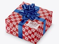 Textured Paper Gift Box with Metallic Bow Mockup
