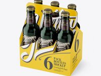 White Paper 6 Pack Green Bottle Carrier Mockup - Half Side View (High-Angle Shot)