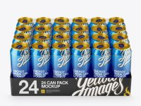 Transparent Pack with 24 Aluminium Cans Mockup - Front View (High-Angle Shot)