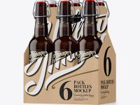 Kraft Paper 6 Pack Amber Bottle Carrier Mockup - Half Side View