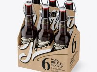 Kraft Paper 6 Pack Amber Bottle Carrier Mockup - Halfside View (High-Angle Shot)