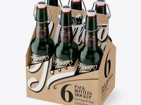 Kraft Paper 6 Pack Green Bottle Carrier Mockup - Halfside View (High Angle Shot)
