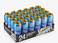 Transparent Pack with 24 Aluminium Cans Mockup - Halfside View (High-Angle Shot)